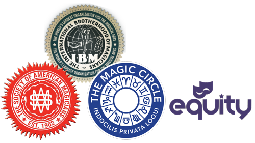 Member of The Magic Circle, Equity, International Brotherhood of Magicians and the Society of American Magicians